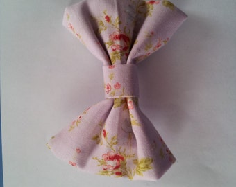 """Light Purple Floral Hair Bow with 2"""" barrette"""