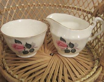 ADDERLEY small sugar and creamer set, rose design with gold trim