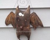 Primitive Folk Art Kevin the Bat Hanging--Fall--Halloween--Hafair Team