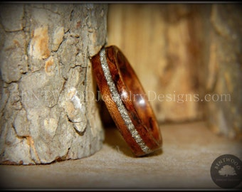 Bentwood Ring - Waterfall Bubinga Silver Glass Inlay - handcrafted steam bent wood rings - durable, unique, one-of-a-kind wearable art.