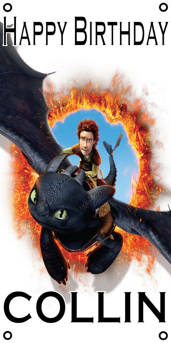 Personalized birthday banner - 4ft x 2ft - How to Train Your Dragon, Hiccup and Toothless