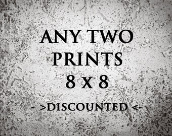 Discounted set of 2 photo prints size 8x8 - Set of Fine Art Photography Prints 8X8 - Any 2 prints - Home Decor Photo Sale