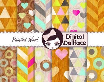 Painted Wood Grain Digital Paper, Geometric Wood Scrapbook Paper Digital