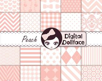 Blush Peach Digital Paper, Peach Digital Pattern, Scrapbook Paper, instant download