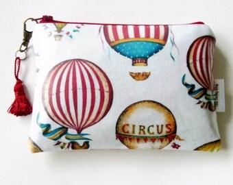 clutch Purse/ hot air balloon/ Circus/carnival/harlequin