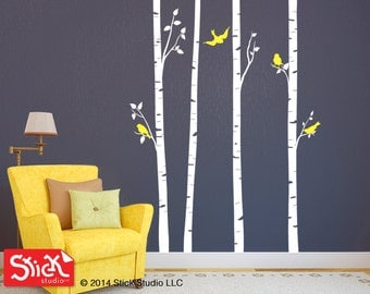 birch tree wall decal, Tree Wall Decal, Birch Tree Decal with Birds, Bird Decal, Tree Decal, Bedroom Decal, Kids Wall Art