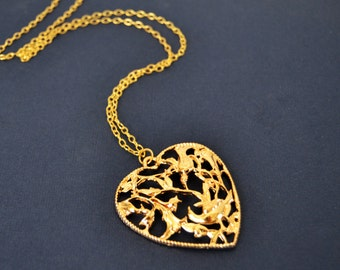 Statement Necklace, 28 Inch, Long Gold Pendant Necklace, Heart Necklace  14kt Gold Filled, Bold, Trendy, Vogue