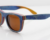 THE SKATER Wood Sunglasses - Eco-Friendly Recycled Blue Skateboard Wood Wayfarer Sunglasses | Hand Made from Recycled Wood