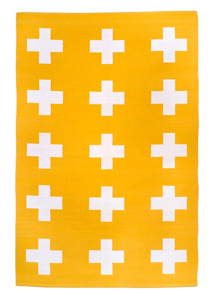 Union Rug 4x6 Yellow And White Cross Cotton Dhurrie Rug Plus