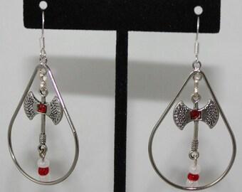Chango Shango  Orisha tear drop double edge ax  Silver Earrings