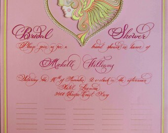 Custom Hand Calligraphy Wedding Bridal Shower