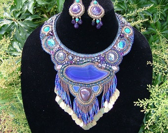 "Bead Embroidered collar, necklace  ""Blue Lagoon""....EBW team member"