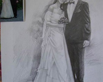 Custom original pencil drawing portrait,hand painted pencil portrait,children portrait,wedding portrait,family portrait and etc,Two Person