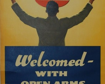 Original Amoco poster Welcomed With Open Arms