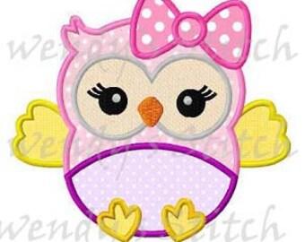 Baby girl owl applique machine embroidery design digital pattern