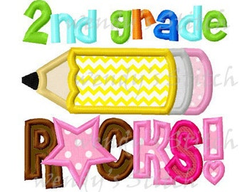 2nd grade rocks pencil applique machine embroidery design instant download