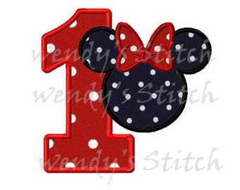 mouse minnie number 1 applique machine embroidery design