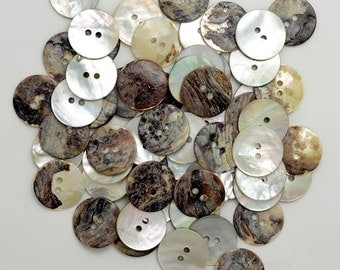 "3/4"" Natural Agoya Shell  Round Buttons, 2-Hole Button, 0.5LB, Approx. 250 pcs"