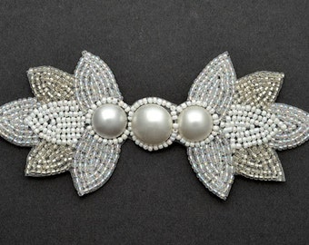 "Pearl Beaded Applique, Bridal Applique, 5-1/4""W x 2-1/4""H, FF-3662"