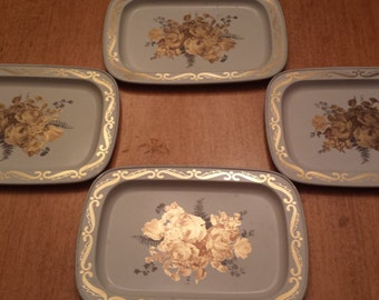 Vintage Metal Toleware Mini Trays White with Gold Roses Set of 4