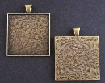 25 Extra Large Square Pendant Trays - Photo Trays - Cabochon Trays - Cabochon Settings