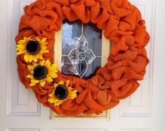 Sunflower Burlap Bubble Wreath