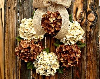 Chocolate and Cream Hydrangea Wreath - Year Round Wreath - Door Wreath - Wreaths - Rustic Wreath - All Season Wreath