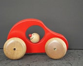 VINTAGE wooden car, red car, retro kids toy, toddler toys, wooden toy, baby shower gift, nursery school, happy face, little boys toy
