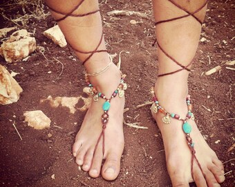 Barefoot sandals SUMMER ,Beach TiMe, Native American BeaUtiful Turquoise and wood beads ORGANIC JEWELRY