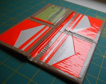 Beige , Orange, and White Duct Tape Woman's Wallet
