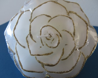 """Floating Rose Candle - white with gold edging - Unscented - 3 3/4"""" in diameter"""