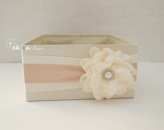 Wedding Program Box / Amenities Box / Program Holder / Open Box / Bubble box / Advice box / favor box (Ivory & Champagne/Tan)