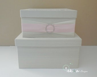 Wedding card box / wedding money box / wedding card holder / gift card box / 2 Tier (Ivory & Rose pink)