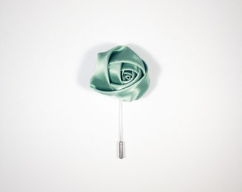 Light Green Satin Men's Lapel Flower, Wonderful Depth Made In The USA Ideal Gift For Dad Brother Husband