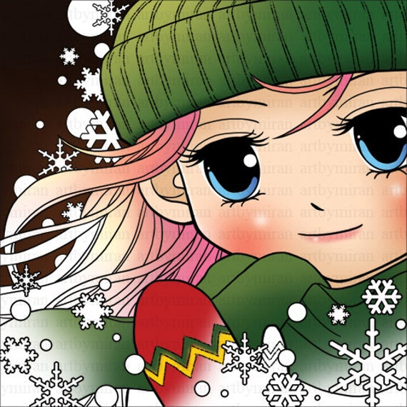 Digital Stamp-Winter Sofia , Big eyed girl illustration Coloring page, Instant Download Digi Stamp, Art by Mi Ran Jung