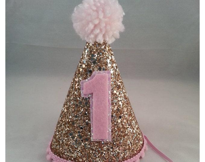 Glittery Birthday Girl Party Hat | Birthday Cake Smash | 1st Birthday | Baby Birthday | Pink and Gold Birthday Hat | Ready to Ship