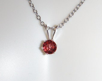 SALE! 25% OFF:  Garnet .3 ct 4 mm Round Sterling Silver Necklace Pendant