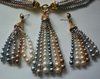 Multi Colored Faux Pearl Necklace & Earrings - 3384
