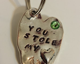 You Stole My Heart Keychain with Swarovski crystal