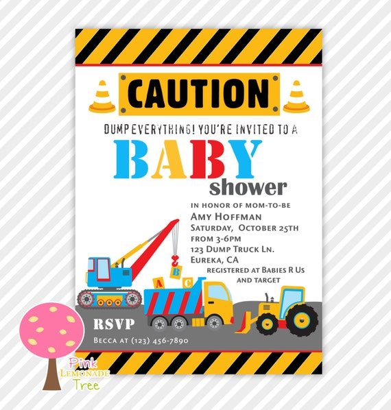 construction baby shower invitation construction trucks by pink