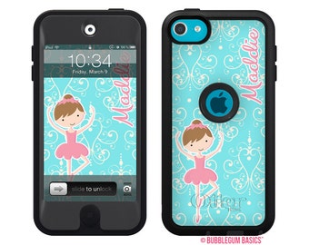 Monogrammed OTTERBOX DEFENDER for iPod Touch 5th iTouch 5 Ballerina Pink Aqua Device Case