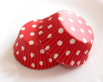 Red and White Polka Dot Cupcake Liners (50)