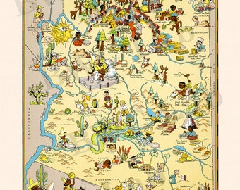 Pictorial Map of Arizona - colorful fun illustration of vintage state map