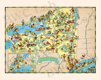 Pictorial Map of New York - colorful fun illustration of vintage state map