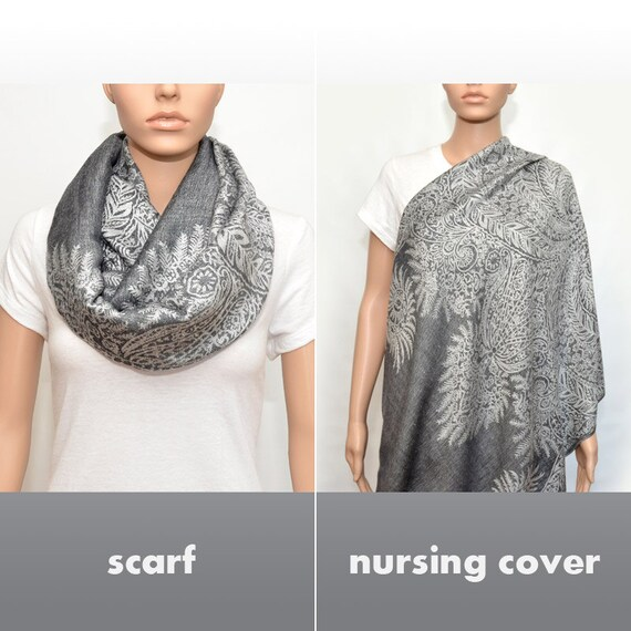 Nursing Cover Scarf , Gray Infinity Scarf with floral pattern , Nursing Scarf, breastfeeding cover, nursing cover