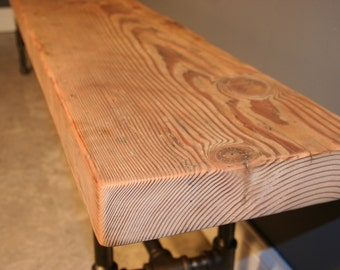Modern and Industrial Reclaimed Wooden Bench Raw (naked) Finish - Wood Bench w/Raw Finish and Gas-pipe Legs