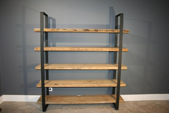reclaimed wood shelf shelving unit with 5 by. Black Bedroom Furniture Sets. Home Design Ideas