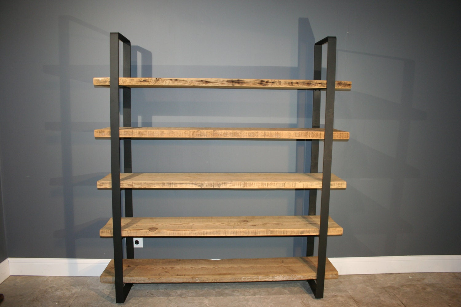 Reclaimed Wood And Metal Wall Shelves: Reclaimed Wood Shelf/Shelving Unit With 5 By