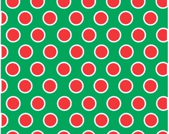 Green with red and white dots craft  vinyl sheet - HTV or Adhesive Vinyl -  large polka dot pattern HTV737