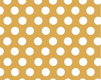 Gold with white dots craft  old gold non-metallic vinyl sheet - HTV or Adhesive Vinyl -  large white polka dot pattern HTV706